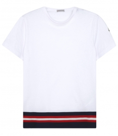 CREWNECK SHORT SLEEVE T-SHIRT WITH TRICOLOR TRIM