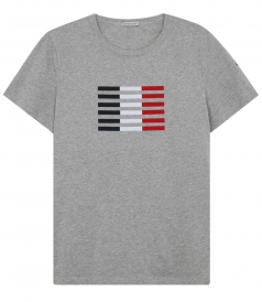 TRICOLOR STRIPED FLAG PRINT T-SHIRT