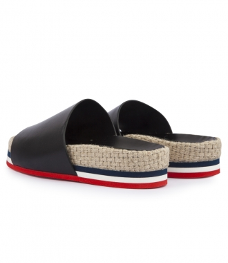 CALF LEATHER EVELYN SLIDES WITH WOVEN SIDE PANEL