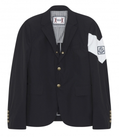 SALES - STRIPE TEXTURED BLAZER WITH CONTRAST DIAGONAL ARMBAND STRIPE