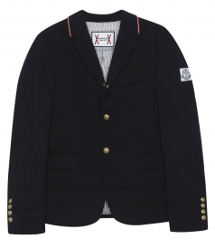 BUTTONED UP PADDED BLAZER WITH RIBBED COLLAR