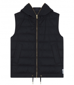PADDED HOODED VEST WITH DRAWSTRING WAISTBAND