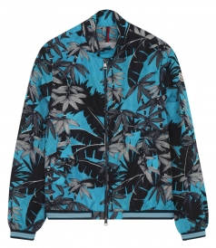 LAMY BLUE TROPICAL PATTERNED CASUAL JACKET IN TECHNICAL NYLON
