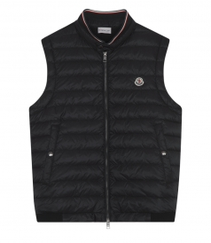PADDED GILET WITH HIGH FRENCH FLAG COLORS TRIMMED COLLAR