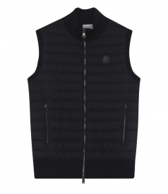 PADDED DOUBLE POCKETS VEST WITH RIBBED TRIMMING