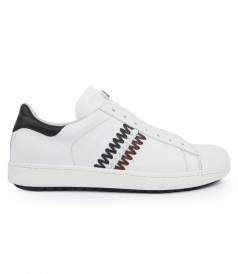 JOACHIM LOW TOP SNEAKERS WITH FRENCH FLAG COLOURS DETAIL