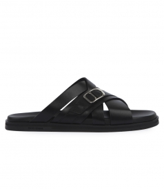 BLACK CALFSKIN LEATHER SANDALS