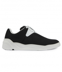 BLACK CANVAS AND WHITE LEATHER B17 SNEAKER