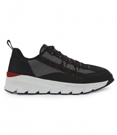 LACE-UP SNEAKER IN BLACK CANVAS AND BLACK CALFSKIN LEATHER