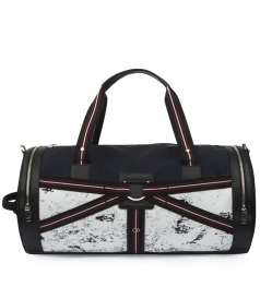 THREE-TONE CANVAS DUFFLE BAG WITH STRAPS