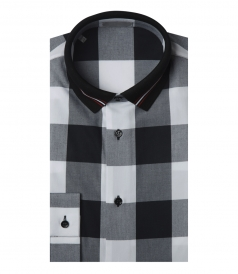 COTTON WITH BLACK AND WHITE CHECK SHIRT WITH RIBBED COLLAR