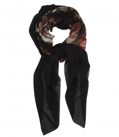 BLACK COTTON AND SILK PRINTED SCARF