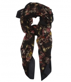 PRINTED COTTON AND SILK BLEND SCARF