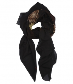 SKULL PRINTED COTTON & SILK BLEND SCARF