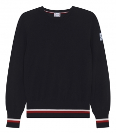 CREWNECK KNITTED PULLOVER WITH RIBBED TRICOLOUR HEM AND CUFFS