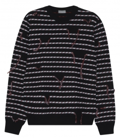 THREAD INTERRUPTED STRIPE DESIGNED KNITTED PULLOVER