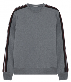 DOUBLE JERSEY SWEATSHIRT WITH TRICOLOR SLEEVE RIBBING