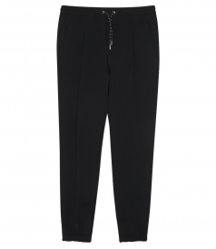 BLACK WOOL SLIM FIT TRACK PANTS
