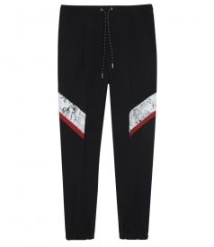 BLACK, WHITE & RED WOOL BLEND CONTAST PANEL TRACK PANTS
