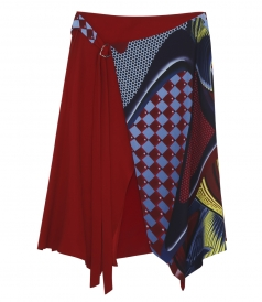 MULTI-COLOURED SILK PATTERNED & LAYERED MIDI SKIRT
