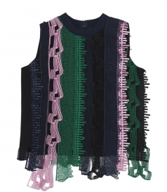 CLOTHES - LACE PATCHWORK SLEEVELESS SILK TOP