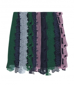 EMBROIDERED LACE PATCHWORK MINI SKIRT