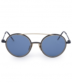 MATTE NAVY & YELLOW 18KT GOLD ROUND FRAME SUNGLASSES
