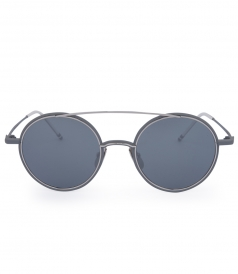 MATTE GREY & SILVER METAL ROUND FRAME SUNGLASSES