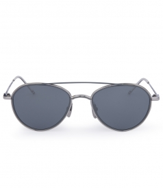 MATTE GREY & SILVER METAL AVIATOR SUNGLASSES