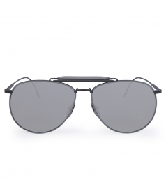 BLACK & GREY MIRRORED AVIATOR SUNGLASSES