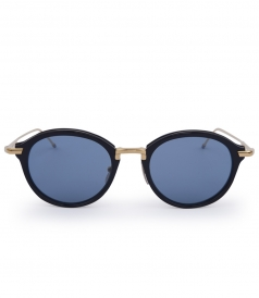MATTE NAVY & GOLD ACETATE ROUND FRAME SUNGLASSES