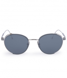 SILVER METAL MIRRORED ROUND FRAME SUNGLASSES