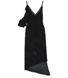 LANUS HAND-KNITTED DRESS WITH RUFFLED SHOULDER