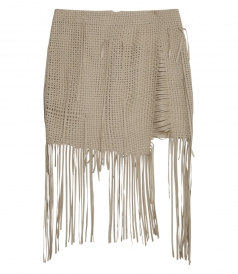 NORWICH FRINGED SKIRT WITH IRREGULAR HAND-WOVEN FRONT