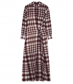 JINNIEFIELD AIRY COTTON GAUZE PLAID SHIRT DRESS