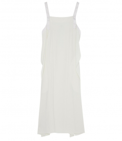 APRON TIE CREPE DRESS WITH CONTRAST TOPSTITCH AT STRAPS