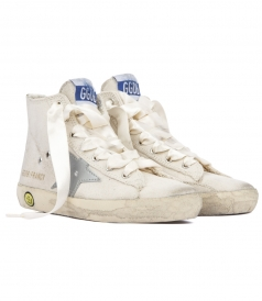 SHOES - WHITE LEATHER WITH SILVER STAR SUPERSTAR SNEAKERS