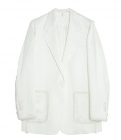 HELMUT LANG - OVERSIZED STRAIGHT FIT BLAZER WITH HAND SEWN FRAY DETAIL