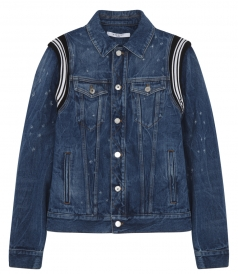 DENIM DISTRESSED JACKET WITH BLACK & WHITE SLEEVE DETAILING