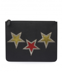 LARGE ZIPPED POUCH WITH EMBROIDERED STARS
