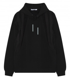 PURE COTTON HOODIE SWEATER WITH CUTOUT DETAILING