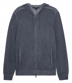 COTTON & LINEN BLEND LONG SLEEVE HOODIE WITH RIBBED HEM