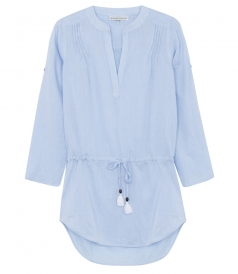 CORSICA PIN TUCK TUNIC WITH ADJUSTABLE DRAWSTRING