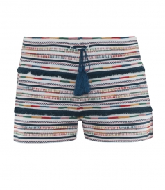 SALES - EMBROIDERED STRIPED SHORTS WITH DRAWSTRING