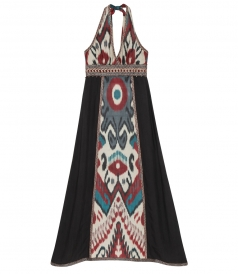 IKAT EMBROIDERED MULTI PRINTED SILK HALTER DRESS