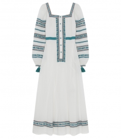 ANYA EMBROIDERED LAYLA DRESS WITH BUTTON FRONT CLOSURE