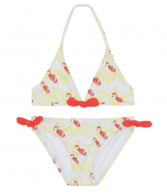 HEIDI KLEIN - SAMMY TRIANGLE BIKINI WITH HAND-PAINTED FLAMINGO PRINT