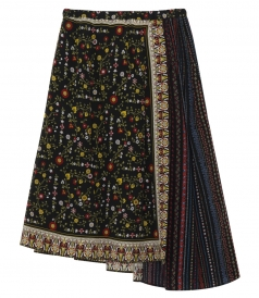 MULTICOLOURED SILK WRAP OVER SKIRT WITH DIFFERENT FLORAL PRINTS
