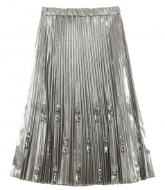 LAMINATED SILVER NYLON PLEATED SKIRT WITH SEQUINS