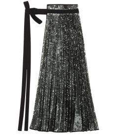 SILVER SEQUINS NYLON PLEATED APRON